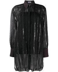 Brunello Cucinelli Прозрачная Рубашка С Пайетками - Черный