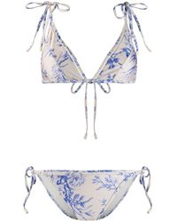 Zimmermann Bikini con estampado floral - Blanco