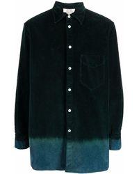 Nick Fouquet Camisa de pana con dobladillo en contraste - Verde