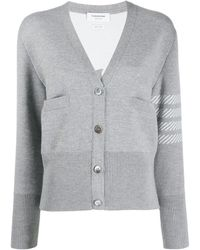 Thom Browne - 4-bar Dolphin Embroidered Cardigan - Lyst