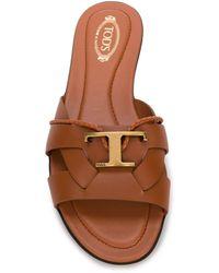 Tod's Sandalen mit Logo-Schild - Braun