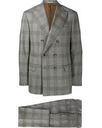 Brunello Cucinelli チェック スーツ - グレー