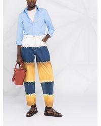 Alberta Ferretti Colour Block Wide Leg Jeans - Brown