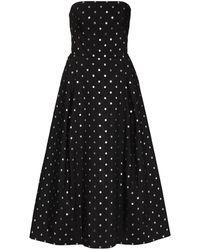 Rasario Metallic Polka-dot Strapless Dress - ブラック