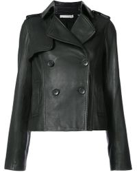 Vince - Cropped Trench Leather Jacket - Lyst