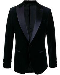 Ferragamo Blazer Met Satijnen Revers - Blauw