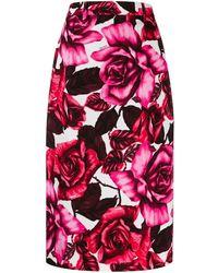 Prada Floral Print Pencil Skirt - Pink