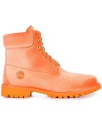 Off-White c/o Virgil Abloh Velvet Timberland Boots - Orange