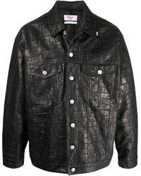 Martine Rose Crocodile-embossed Leather Jacket - Black