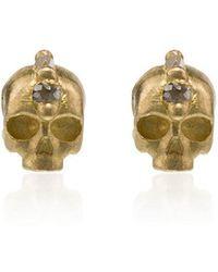 Polly Wales - Yellow Gold Skull 18k Gold Diamond Earrings - Lyst