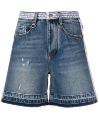 Ermanno Scervino Distressed Embroidered Denim Shorts - Blue