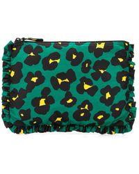 LaDoubleJ Leopard Print Zipped Clutch - Green