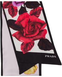 Prada ローズプリント スカーフ - ホワイト
