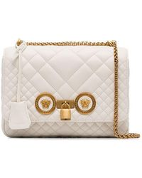 Versace - White Quilted Chain Shoulder Bag - Lyst
