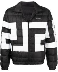 Versace Greek-key Print Padded Jacket - Black