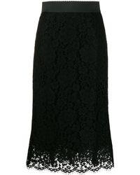 Dolce & Gabbana フローラル レース スカート - ブラック