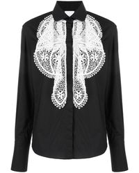 Patou Camisa con pechera con bordado de encaje - Negro