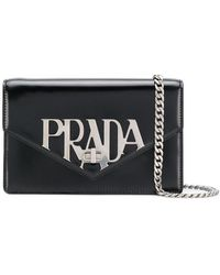 Prada - Logo Plaque Shoulder Bag - Lyst