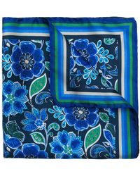 Kiton フローラル スカーフ - ブルー