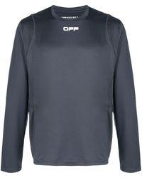 Off-White c/o Virgil Abloh Logo-print Long-sleeved Performance T-shirt - Grey