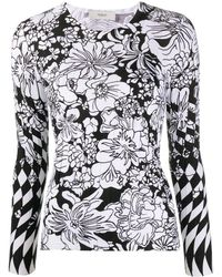 Pringle of Scotland Floral Long-sleeve Sweater - Black