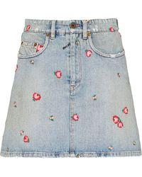 Miu Miu Floral-embroidered Denim Skirt - Blue