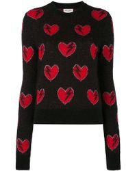 Saint Laurent - Heart Embroidered Jumper - Lyst