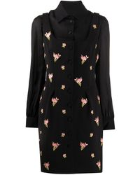 Moschino Layered-look Floral-embroidered Dress - Black