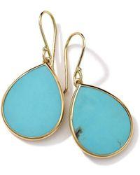 Ippolita 18kt yellow gold small Polished Rock Candy Teardrop turquoise earrings - Métallisé