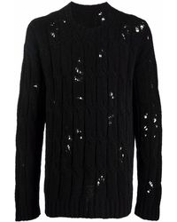 Uma Wang Distressed Open-knit Jumper - Black