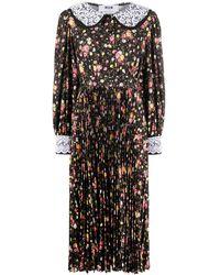 MSGM Платье С Цветочным Принтом И Кружевным Воротником - Черный