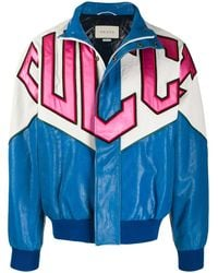 Gucci Graphic Patchwork Bomber Jacket - Blue