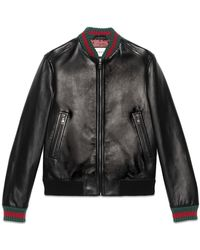 259a4afb2 Gucci Black Shiny Leather Biker Jacket in Black for Men - Lyst