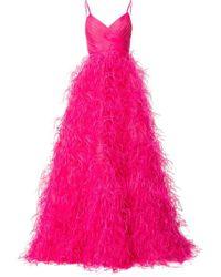 Monique Lhuillier - Vestido de fiesta de tul con plumas - Lyst