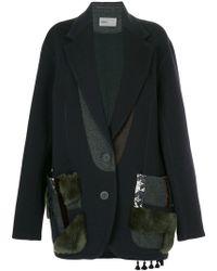 Kolor Patchwork Single Breasted Coat - Blue
