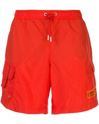 Heron Preston Logo Patch Swim Shorts - Orange