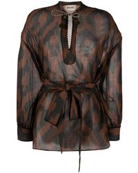 Bazar Deluxe Geometric-print Long-sleeve Blouse - Brown