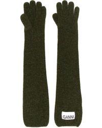 Ganni Handschuhe mit Logo-Patch - Grün