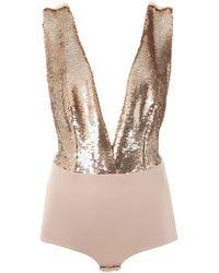 Olympiah Low-back Sequin-detail Bodysuit - Metallic
