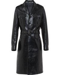 Prada Manteau militaire à effet vernis - Noir