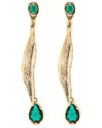 Alberta Ferretti Stone-embellished Drop Earrings - Metallic