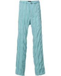 Haider Ackermann Pantalones a rayas efecto arrugado - Azul