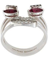 Delfina Delettrez - Face Detail Embellished Ring - Lyst
