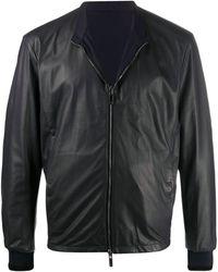 Giorgio Armani ジップ レザージャケット - ブラック