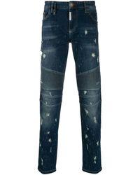 Philipp Plein Biker Destroyed Jeans - Blue