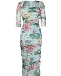 Dolce & Gabbana フローラル ドレープドレス - ブルー