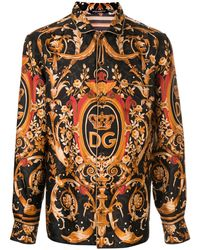 Dolce & Gabbana Camisa con estampado barroco del logo - Negro