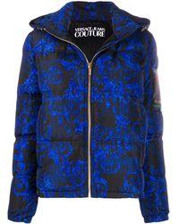 Versace Jeans Hooded Baroque-print Puffer Jacket - Black