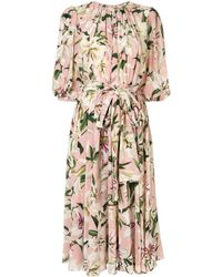 Dolce & Gabbana Lily Print Belted Dress - Pink