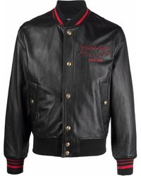 Versace Jeans Couture Lambskin Embroidered-logo Varsity Jacket - Black